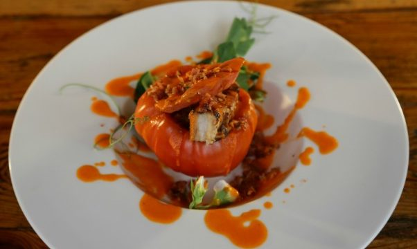 A stuffed tomato, Carnitas Snack Shack-style. Photo credit: cookingchanneltv.com