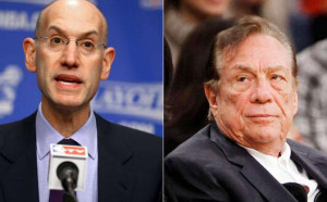 NBA Commissioner Adam Silver (left) banned Clippers owner Donald Sterling from NBA. Photo via Twitter