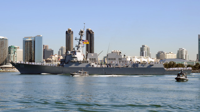 The USS Spruance off downtown San Diego. Navy photo