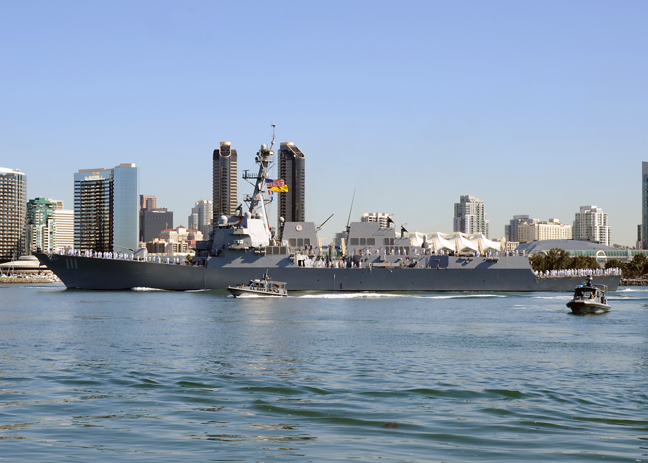 The guided-missile destroyer USS Spruance in San Diego Bay. Navy photo