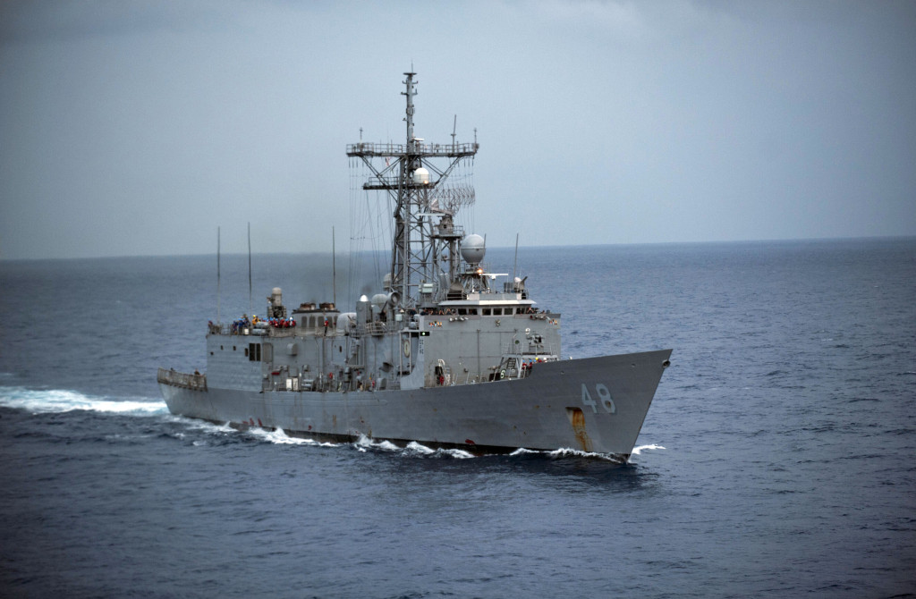 The guided-missile frigate USS Vandegrift. Navy photo