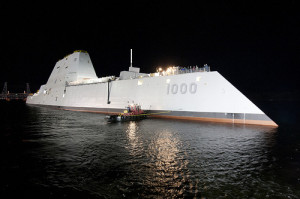 The USS Zumwalt is floated out of dry dock at the General Dynamics Bath Iron Works shipyard. Photo courtesy General Dynamics