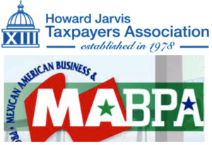 Logos of Howard Jarvis Taxpayers Association and the Mexican American Business and Professionals Association