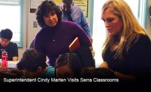 Superintendent Cindy Marten visits a classroom at Serra High School. Photo credit: Serra High School web site.