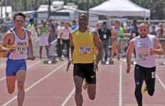 Willie Gault, formerly of the Chicago Bears, wins masters men's 100-meter dash exhibition April 19, 2014, at the Mt. SAC Relays, clocking 11.28 seconds.