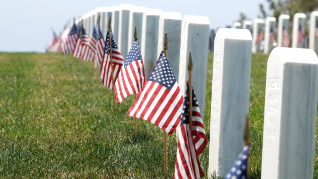 Flags planted by local Scouts deocorated thousands of headstones at Fort Rosecrans.