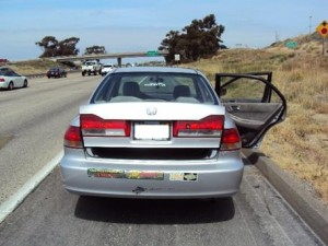 The 2001 Honda Accord with a mother and two children that was stopped by the Border Patrol. Photo courtesy Border Patrol