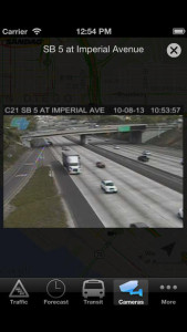 A traffic camera view in the iPhone version of the 511 app. Image courtesy SANDAG
