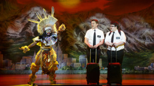 Monica L. Patton, left, David Larsen, and Cody Jamison Strand in The Book of Mormon's Second National Tour. Photo by Joan Marcus