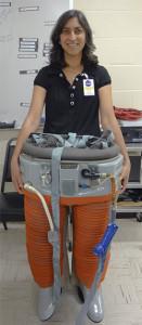 UC San Diego professor Brinda Rana with a spacesuit. UCSD photo