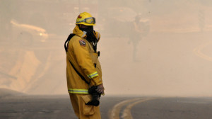 Cocos Fire scene Thursday afternoon. Photo by Chris Stone