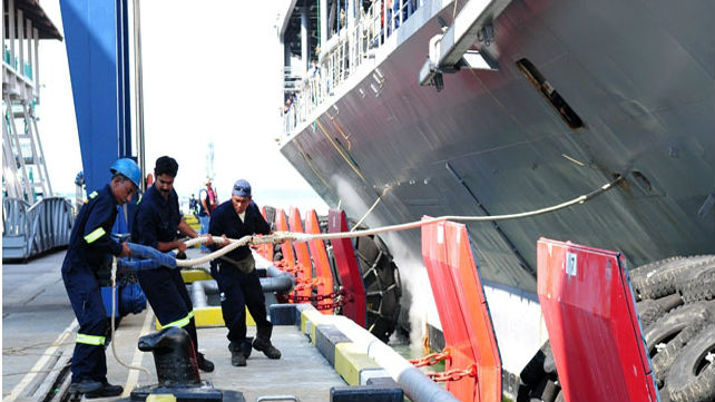 This image from the Glenn Defense Marine Asia website shows workers tending to a Navy ship. The Singapore-based defense contractor is embroiled in a fraud case.