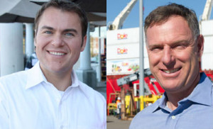 Carl DeMaio, left, and Scott Peters. Campaign photos