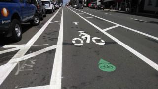The dedicated bike lane on 5th Avenue. Photo by Chris Jennewein