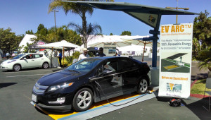A Chevrolet Volt charging at a solar power station from Envision Solar on display at the 2014 SDG&E Energy Expo. Photo by Chris Jennewein