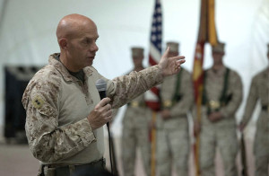 Maj. Gen. David Berger speaks during a transfer of authority ceremony at Twentynine Palms, July 5, 2012. Photo by Cpl. Alfred V. Lopez