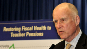 Gov. Jerry Brown describes how he hopes to deal with state teachers retirement system liabilities. Photo by Chris Stone
