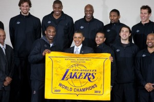 The Los Angeles Lakers with President Barack Obama in 2010. Photo by Lawrence Jackson via Wikimedia Commons