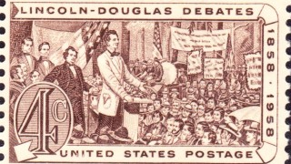 A postage stamp commemorating the Lincoln-Douglas debates. Image via Wikimedia Commons