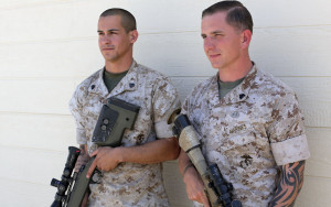 Marine sniper champions Sgt. Daniel Ramos, left, and Sgt. Shaun Garvey. Photo by Cpl. Orrin Farmer