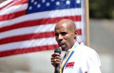 Meb spoke to San Diego High School crowd on Meb Day in San Diego. Photo by Chris Stone