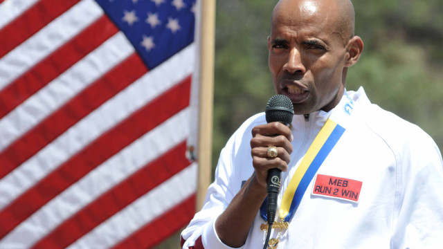 Meb Keflizighi at his San Diego High School day of honor in 2014 after winning the Boston Marathon. Chris Stone photo