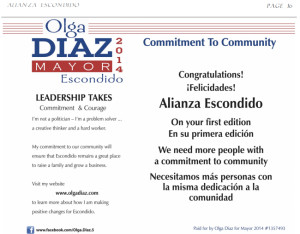Olga Diaz for Mayor group placed ad in debut issue.