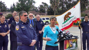 Interior Secretary Sally Jewell speaks to reporters at Cal Fire headquarters in San Diego. Photo by Chris Jennewein