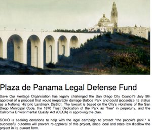 Posting on the Save Our Heritage Organisation website seeking donation for Balboa Park case.