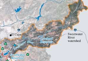 Sweetwater watershed and nearby reservoirs and plants. Photo credit: pubs.usgs.gov
