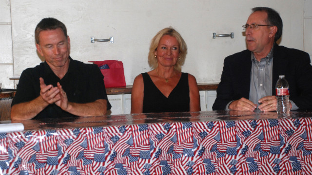 "Panel on the ""bigotry of the left"" comprised Pastor Chris Clark (left), Mary Moran and Barry Jantz. Photo by Ken Stone"