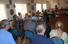 About 45 people, including six candidates for office, attended the meeting in Lakeside. Photo by Ken Stone