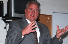 Ken Gosselin makes pitch as judge candidate. Photo by Ken Stone
