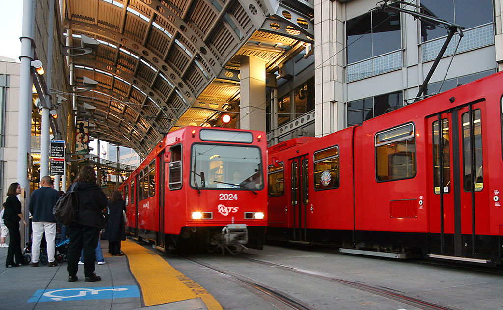 Riders at trolleys at the America Plaza station in downtown San Diego. Photo courtesy Metropolitan Transit System