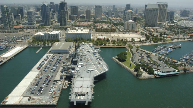 The USS Midway Museum with the San Diego skyline in the background.