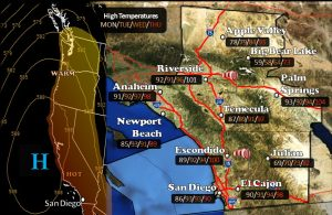 National Weather Service map for San Diego region for May 12.