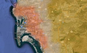National Weather Service map showing areas of high heat (orange), and high winds (yellow) in the San Diego area.