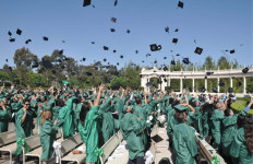 World record attempt at Spreckels Organ Pavilion for simultaneous mortarboard tossing. Photo by Ken Stone