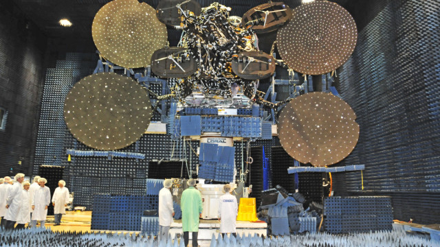 The ViaSat-1 satellite being tested before launch. Photo courtesy Space Systems Loral