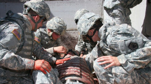 Soldiers train to treat wounded warriors on the battlefield. Army photo