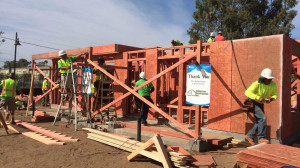 Three homes are being build by San Diego Habitat for Humanity in Escondido this week. Photo via Twitter @HabitatSanDiego.