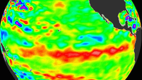 Image of warmer sea water at the equator. Courtesy NOAA