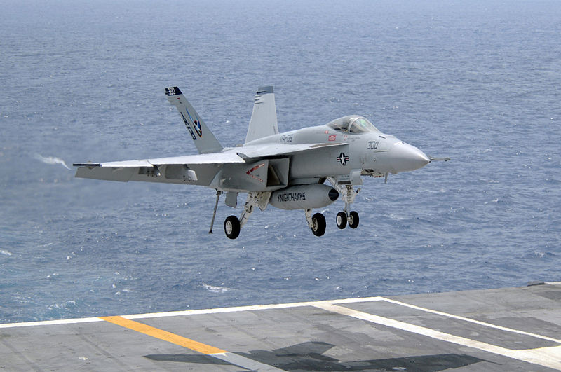 An F/A-18E Super Hornet lands on the USS Carl Vinson. Navy photo