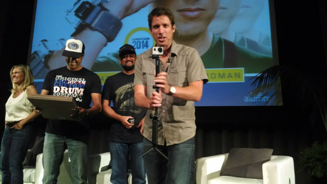 GoPro founder Nick Woodman with a GoPro camera at UC San Diego's Price Center ballroom. Photo by Chris Jennewein
