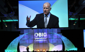 Gov. Jerry Brown welcomed the biotech convention with a pitch for California. Photo by Chris Stone