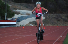 Slaney biked the mile in 3:24.86, beating Darcy Arreola and Jearl Miles-Clark.