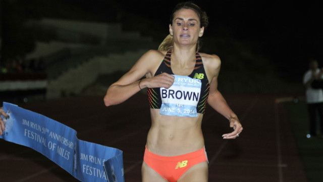 Sarah Brown won the women's elite mile in a solo effort.