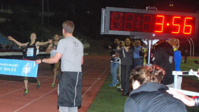 Eric Avila nears finish of his first sub-4-minute mile.