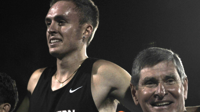 Avila soaked up cheers while standing on podium with Jim Ryun.