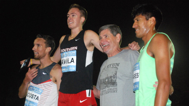 Ryun joined all runners during medal-stand ceremonies throughout the night.